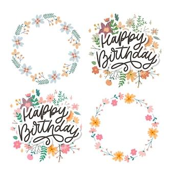 Jeu de calligraphie de lettrage joyeux anniversaire