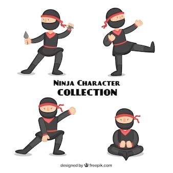 Jeu de caractère ninja traditionnel avec un design plat