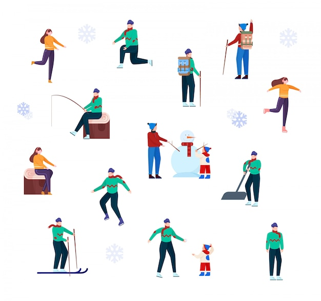 Jeu de caractères d'activités de plein air d'hiver