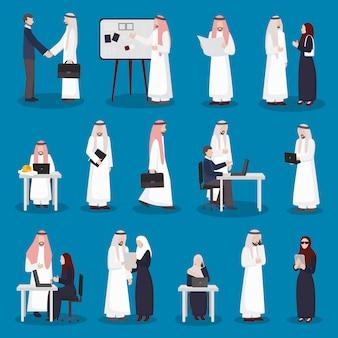 Jeu de caractères d'affaires arabes