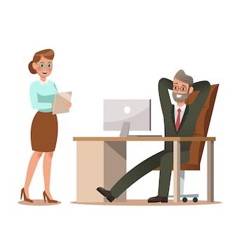 Jeu de caractères d'affaires travaillant dans le bureau