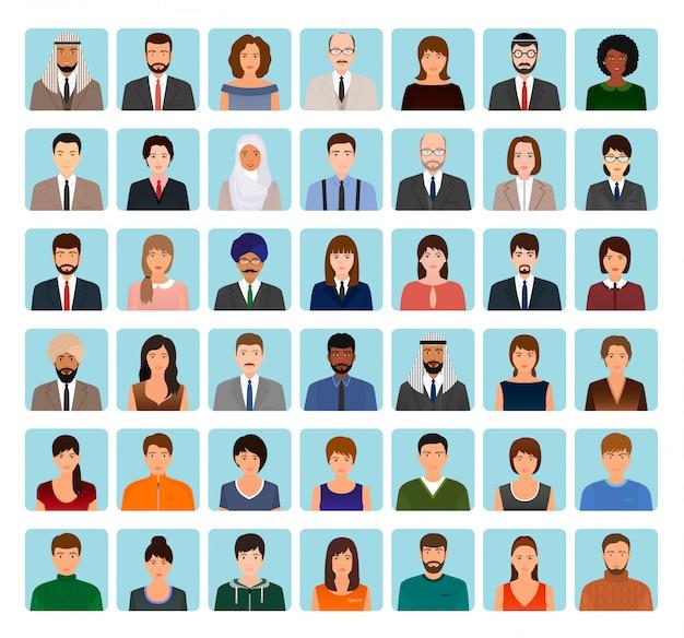 Jeu de caractères d'avatars de différentes personnes. icônes commerciales, élégantes et sportives de visages à votre profil.