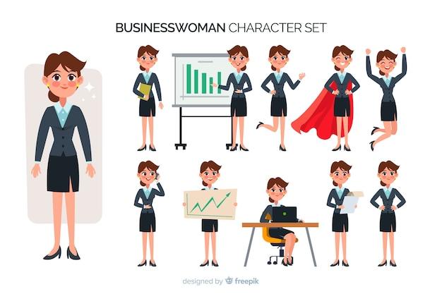 Jeu de caractères belle femme d'affaires