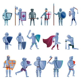 Jeu de caractères de chevalier, style cartoon