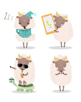 Jeu de caractères de chèvre