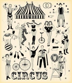 Jeu de caractères de cirque