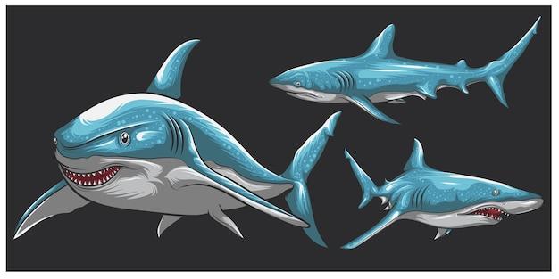 Jeu de caractères de concept de requin