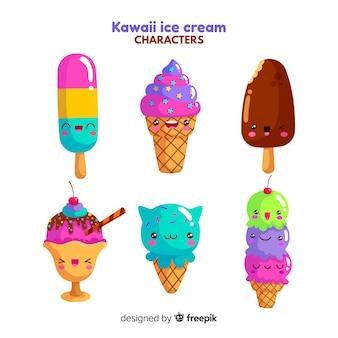 Jeu de caractères de crème glacée kawaii dessinés à la main