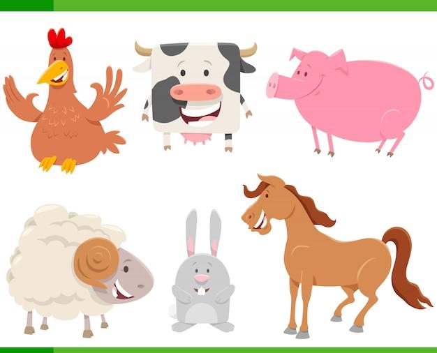 Jeu de caractères de dessin animé animaux de ferme heureux