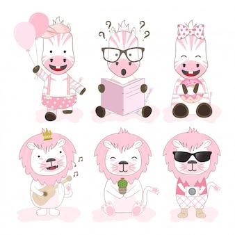 Jeu de caractères de dessin animé animaux mignons