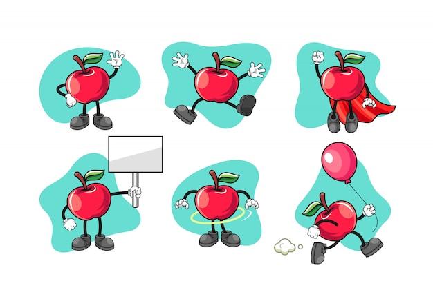 Jeu de caractères de dessin animé apple