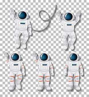 Jeu de caractères de dessin animé astronaute sur fond transparent