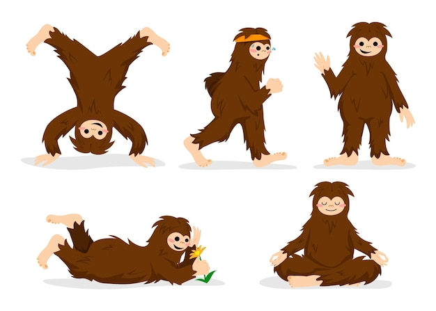 Jeu de caractères de dessin animé bigfoot sasquatch