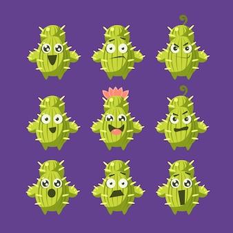 Jeu de caractères de dessin animé de cactus