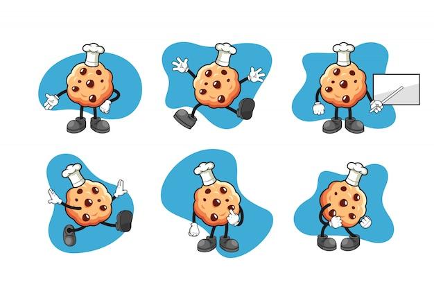 Jeu de caractères de dessin animé cookie aux pépites de chocolat