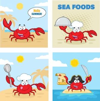 Jeu de caractères de dessin animé de crabe