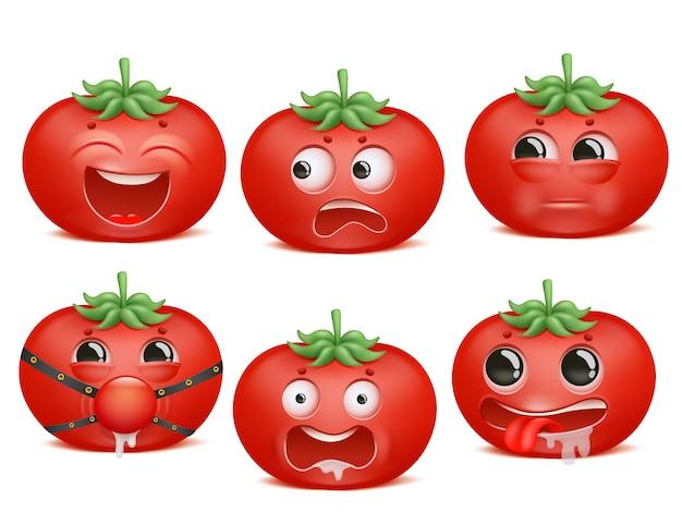Jeu de caractères de dessin animé emoji tomate.