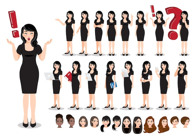 Jeu de caractères de dessin animé de femme d'affaires. belle femme d'affaires dans une robe noire.
