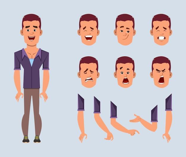 Jeu de caractères de dessin animé homme d'affaires décontracté pour votre animation, conception ou mouvement avec différentes émotions faciales et mains