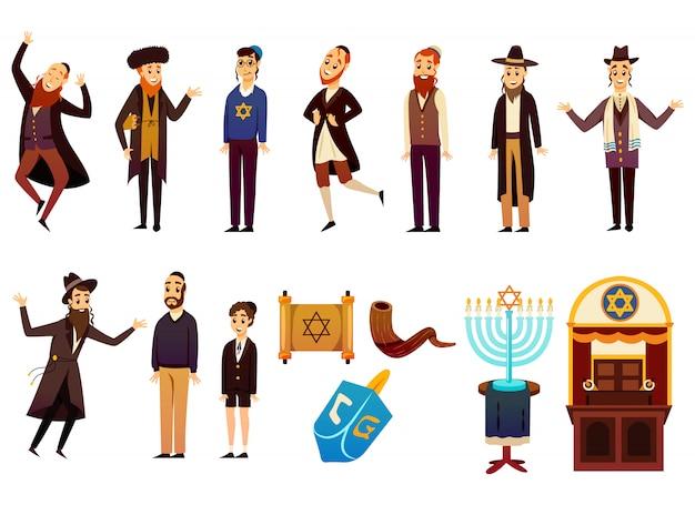 Jeu de caractères de dessin animé juif