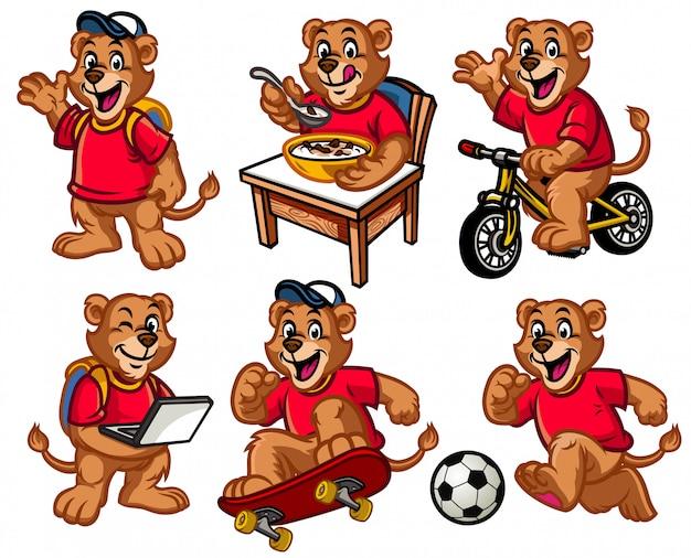 Jeu de caractères de dessin animé de lion kid