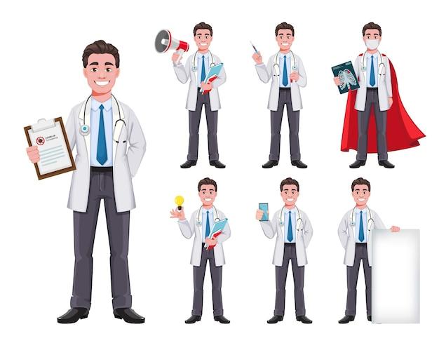 Jeu de caractères de dessin animé de médecin joyeux de sept poses