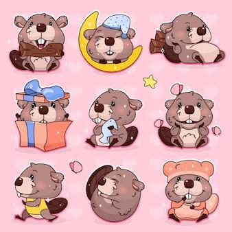 Jeu de caractères de dessin animé mignon castor kawaii. autocollants isolés de mascotte animale adorable, heureuse et drôle, pack de correctifs, illustration pour enfants. anime bébé fille castor emoji, émoticône sur fond rose