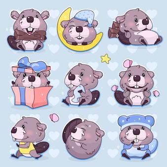 Jeu de caractères de dessin animé mignon castor kawaii. autocollants isolés de mascotte animale adorable, heureuse et drôle, pack de correctifs, illustration pour enfants. anime bébé garçon castor emoji, émoticône sur fond bleu