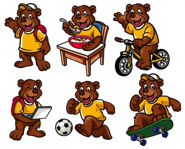 Jeu de caractères de dessin animé de mignon petit ours