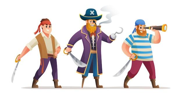 Jeu de caractères de dessin animé de pirates tenant l'épée