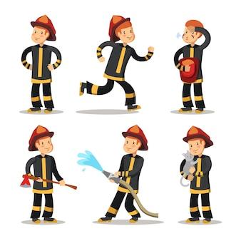 Jeu de caractères de dessin animé de pompier. pompier avec tuyau.