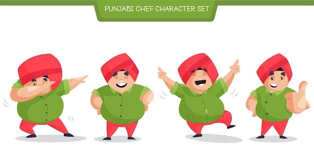 Jeu de caractères de dessin animé punjabi chef