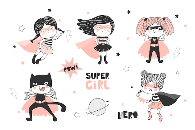 Jeu de caractères de dessin animé super filles dessinés à la main. collection de griffonnage.
