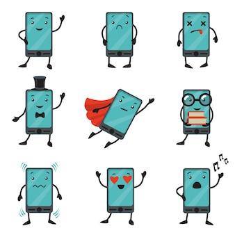 Jeu de caractères de dessin animé de téléphone portable