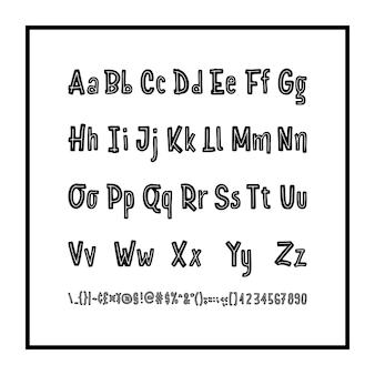 Jeu de caractères dessinés à la main isolé sur blanc