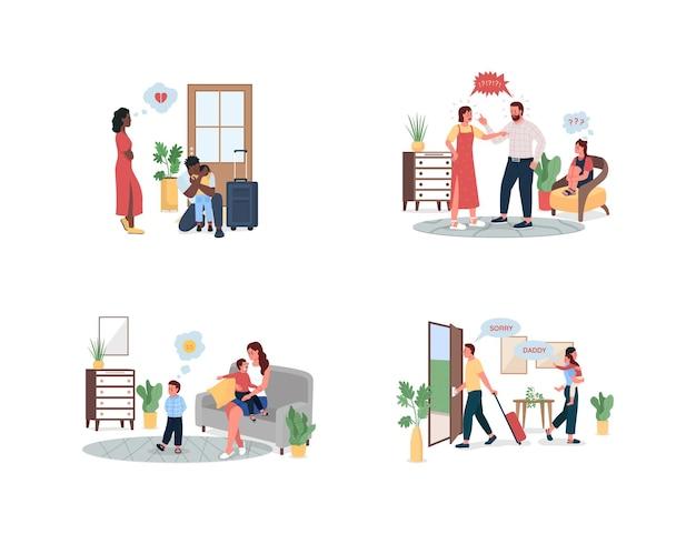 Jeu de caractères détaillés en couleur à plat pour les conflits familiaux. des parents qui se disputent, des enfants bouleversés. dessin animé isolé problème relationnel