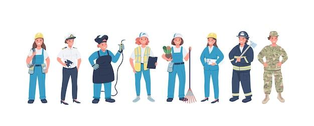 Jeu de caractères détaillés couleur plat professions femme