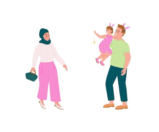 Jeu de caractères détaillés plats de famille heureuse. femme musulmane. père et fille en oreilles de lapin. collection de dessins animés isolés de vacances de printemps