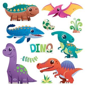 Jeu de caractères de dinosaure de dessin animé