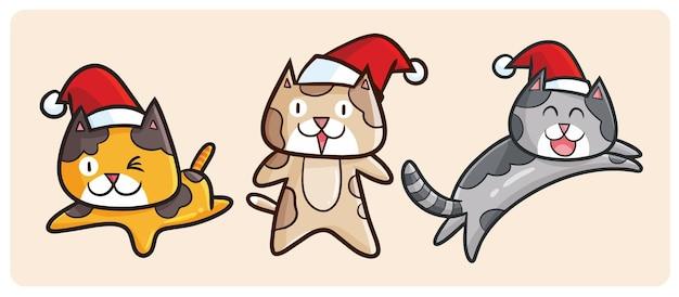 Jeu de caractères drôle de chat de noël dans le style de dessin animé