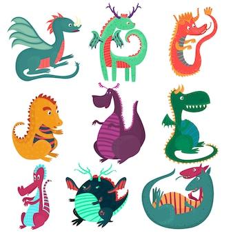 Jeu de caractères drôles drôles de dragon, dragons de fées de style dessin animé cchildish illustrations