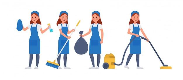Jeu de caractères du personnel de nettoyage