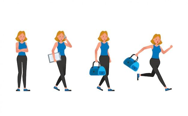 Jeu de caractères de l'entraîneur de fitness. femme, habillé, sports, habillement
