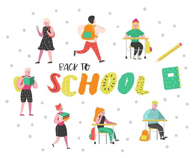 Jeu de caractères étudiants et élèves