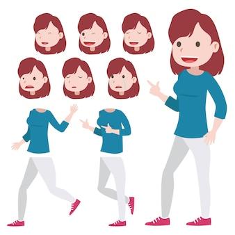 Jeu de caractères féminins avec différentes postures pour faire du motion design