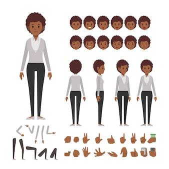 Jeu de caractères de femme affaires afro