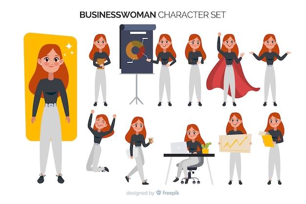 Jeu de caractères de femme d'affaires