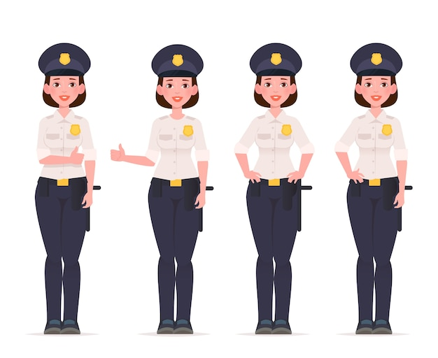 Jeu de caractères de femme flic. officier de police.