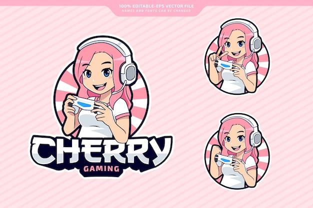 Jeu de caractères de gamer girl modèle modifiable de logo esport