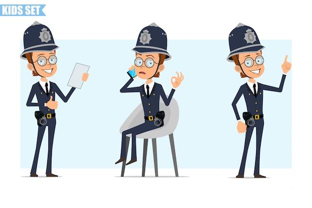 Jeu de caractères de garçon policier britannique de dessin animé